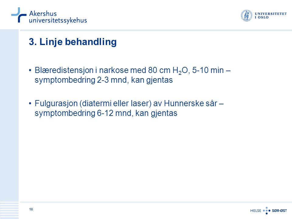 3. Linje behandling Blæredistensjon i narkose med 80 cm H2O, 5-10 min – symptombedring 2-3 mnd, kan gjentas.