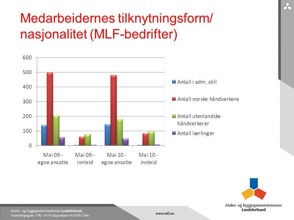 Medarbeidernes tilknytningsform/ nasjonalitet (MLF-bedrifter)