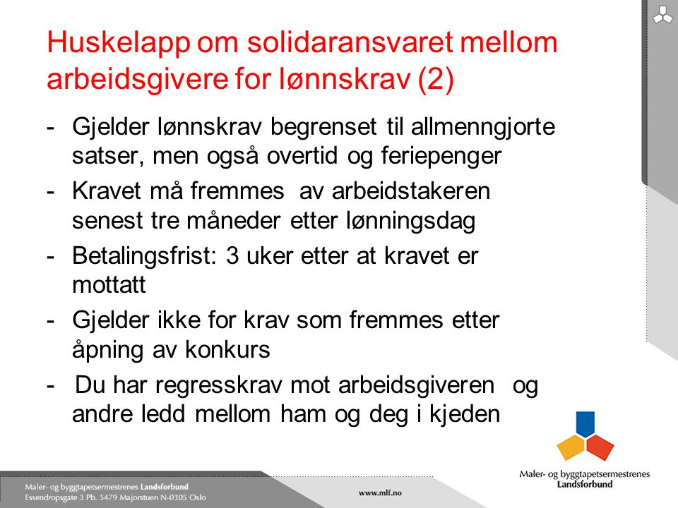 Huskelapp om solidaransvaret mellom arbeidsgivere for lønnskrav (2)