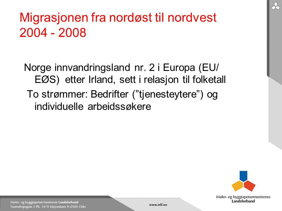 Migrasjonen fra nordøst til nordvest 2004 - 2008