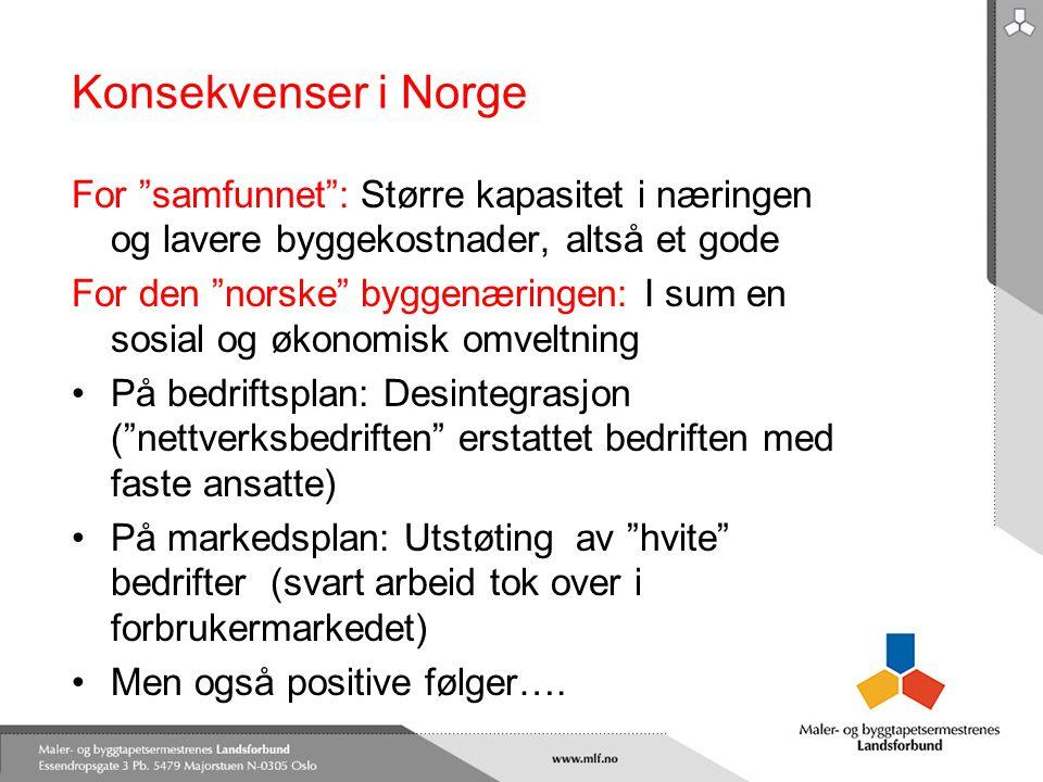 Konsekvenser i Norge For samfunnet : Større kapasitet i næringen og lavere byggekostnader, altså et gode.