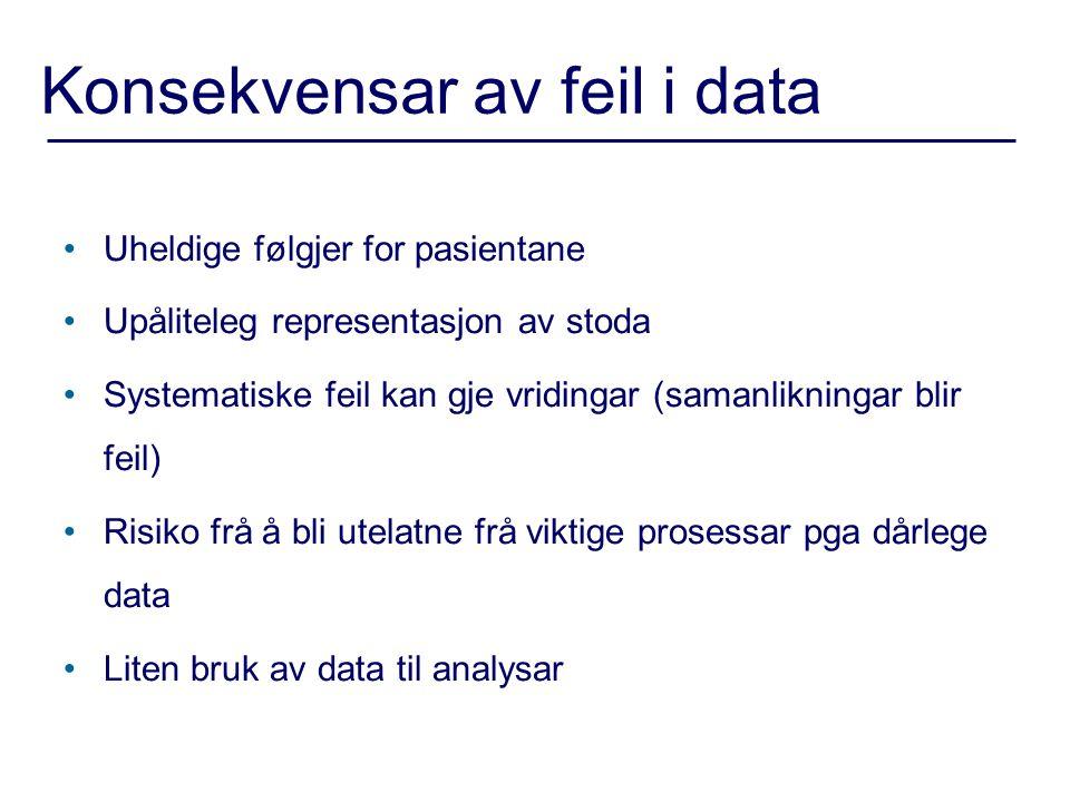 Konsekvensar av feil i data