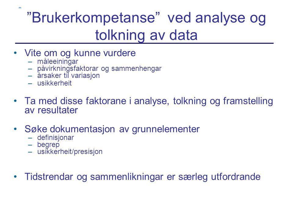 Brukerkompetanse ved analyse og tolkning av data