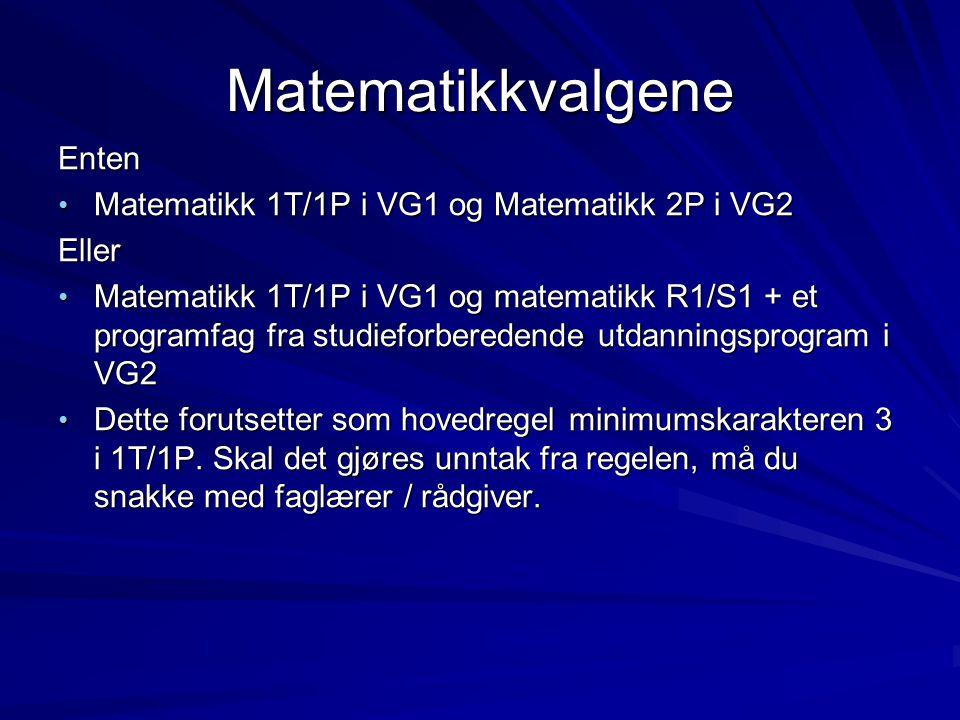 Matematikkvalgene Enten Matematikk 1T/1P i VG1 og Matematikk 2P i VG2