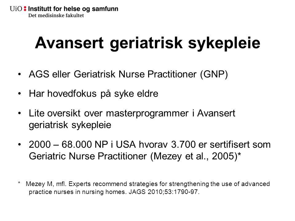 Avansert klinisk sykepleie (klinisk ekspertsykepleier/nurse practitioner)