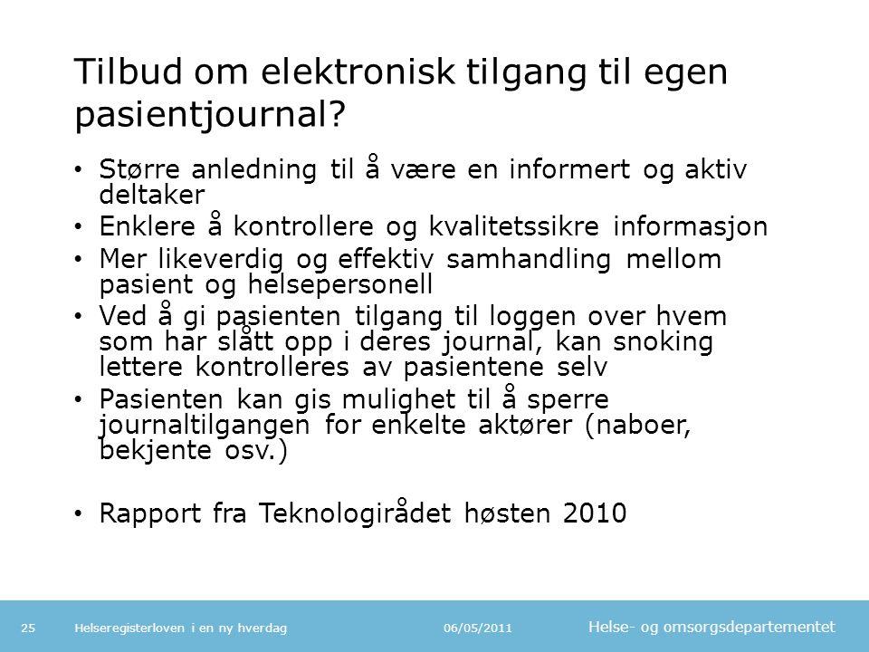 Tilbud om elektronisk tilgang til egen pasientjournal