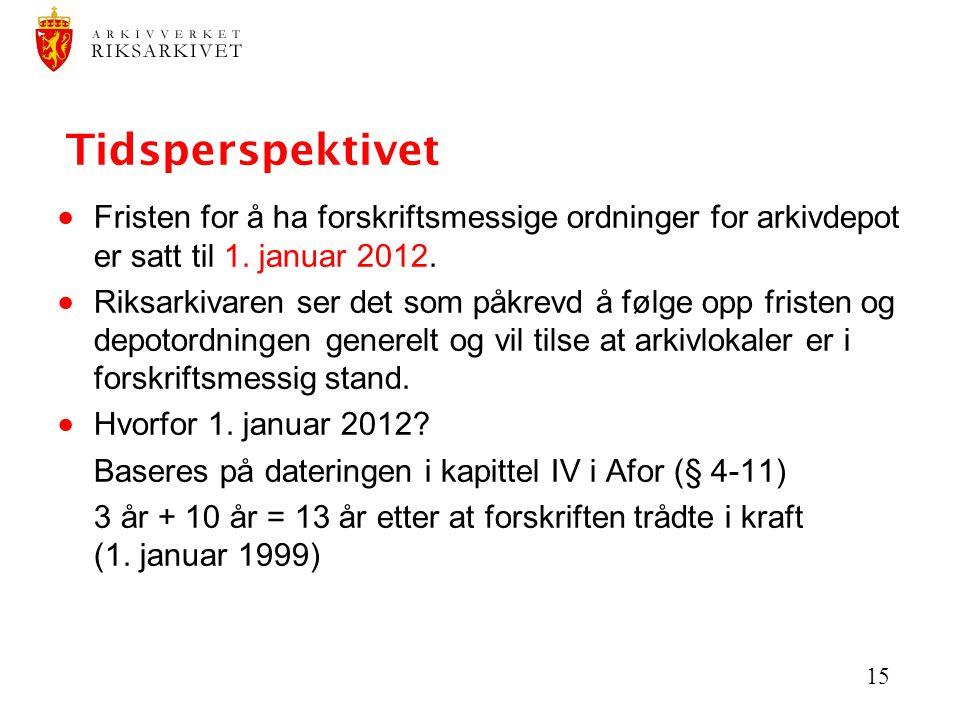 Tidsperspektivet Fristen for å ha forskriftsmessige ordninger for arkivdepot er satt til 1. januar 2012.