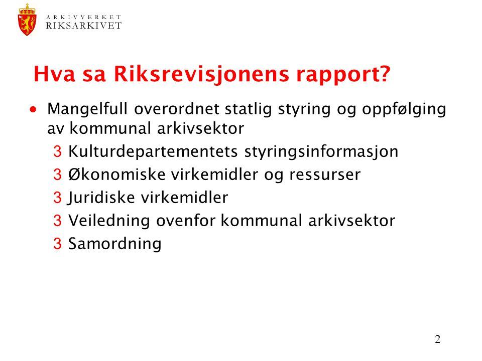 Hva sa Riksrevisjonens rapport