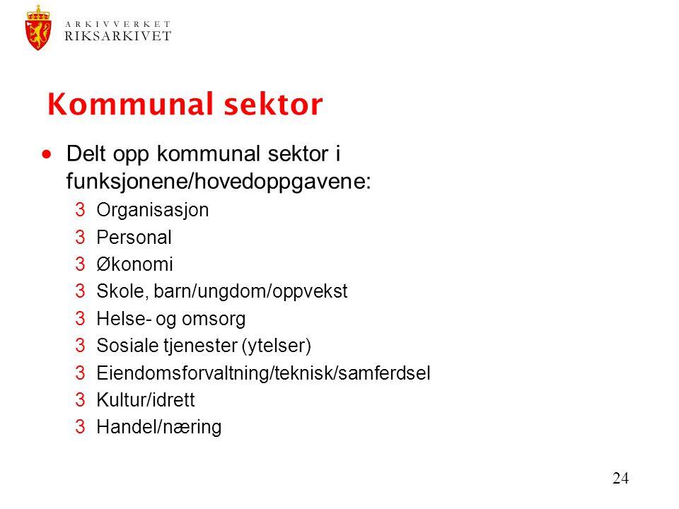 Kommunal sektor Delt opp kommunal sektor i funksjonene/hovedoppgavene: