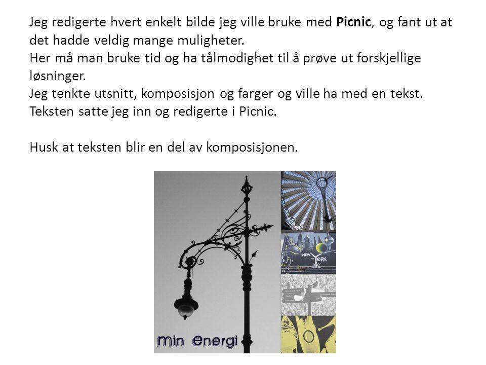 Jeg redigerte hvert enkelt bilde jeg ville bruke med Picnic, og fant ut at det hadde veldig mange muligheter.
