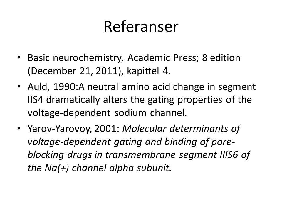 Referanser Basic neurochemistry, Academic Press; 8 edition (December 21, 2011), kapittel 4.