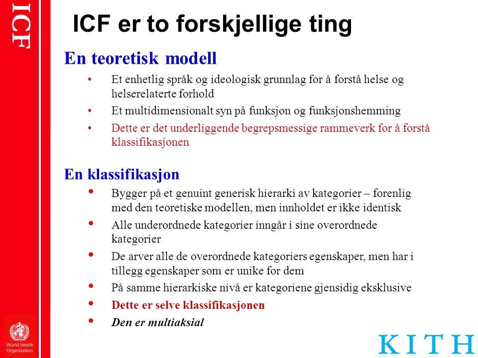 ICF er to forskjellige ting