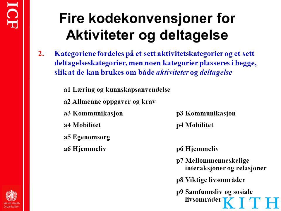 Fire kodekonvensjoner for Aktiviteter og deltagelse