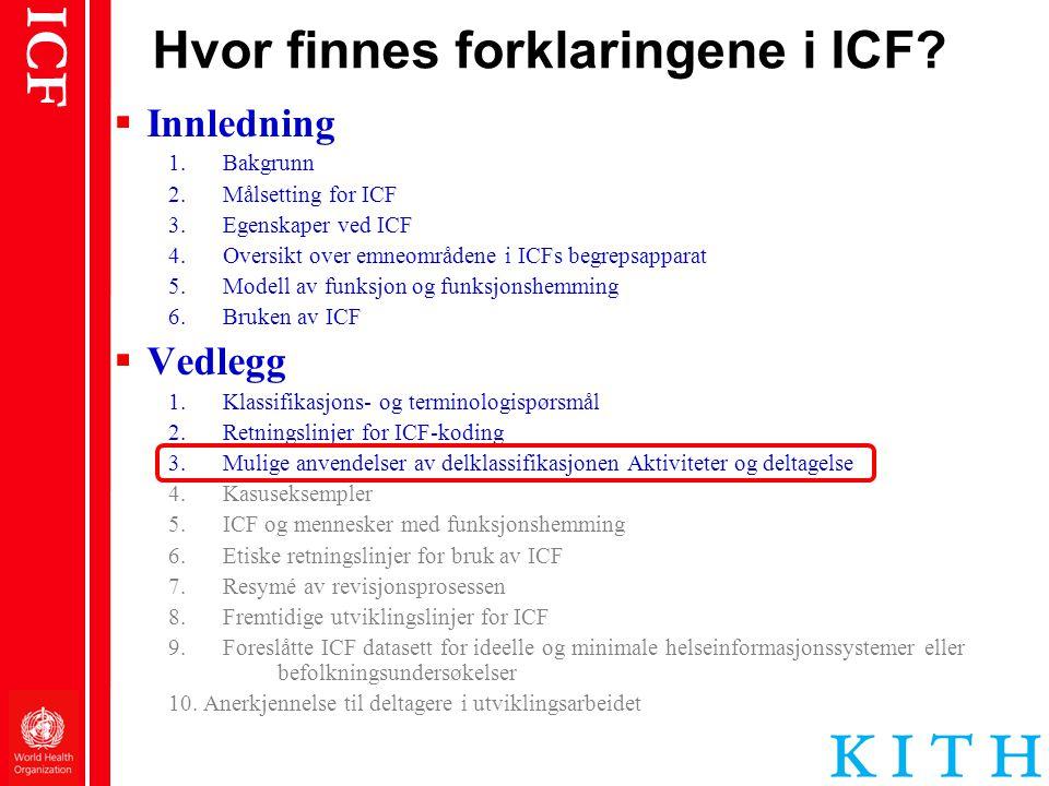 Hvor finnes forklaringene i ICF