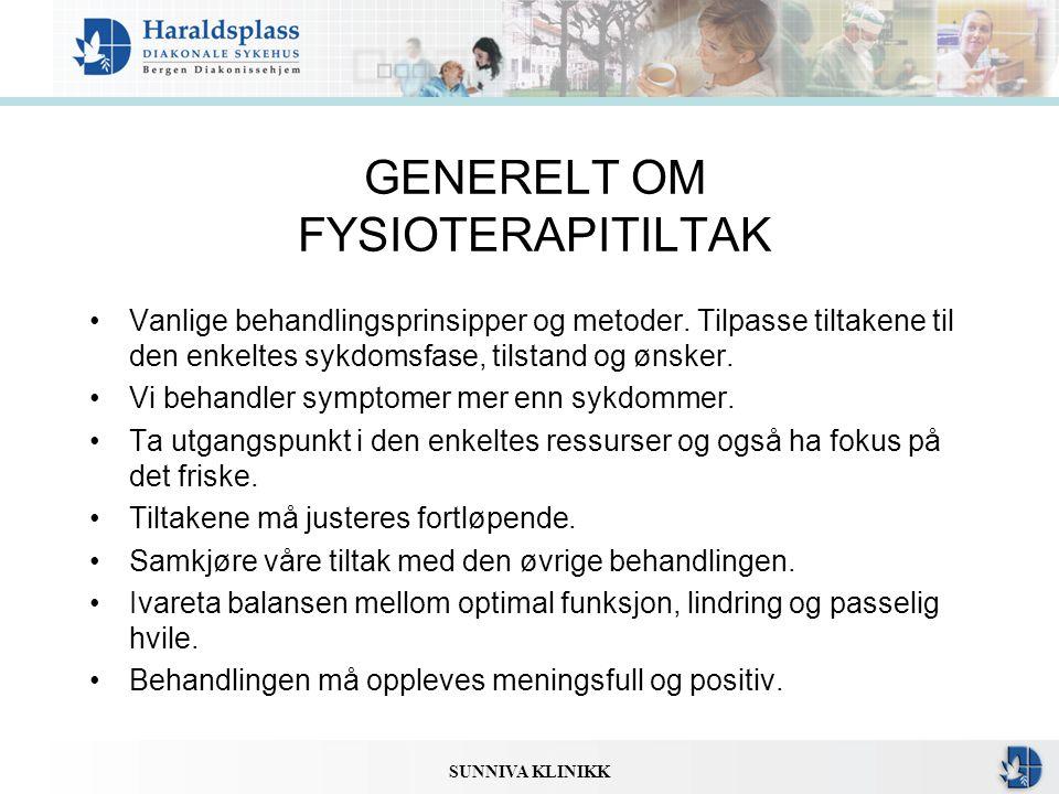 GENERELT OM FYSIOTERAPITILTAK