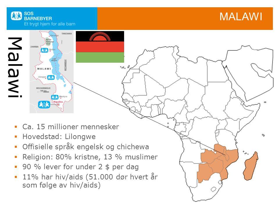 Malawi Malawi Ca. 15 millioner mennesker Hovedstad: Lilongwe