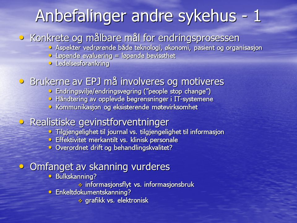Anbefalinger andre sykehus - 1