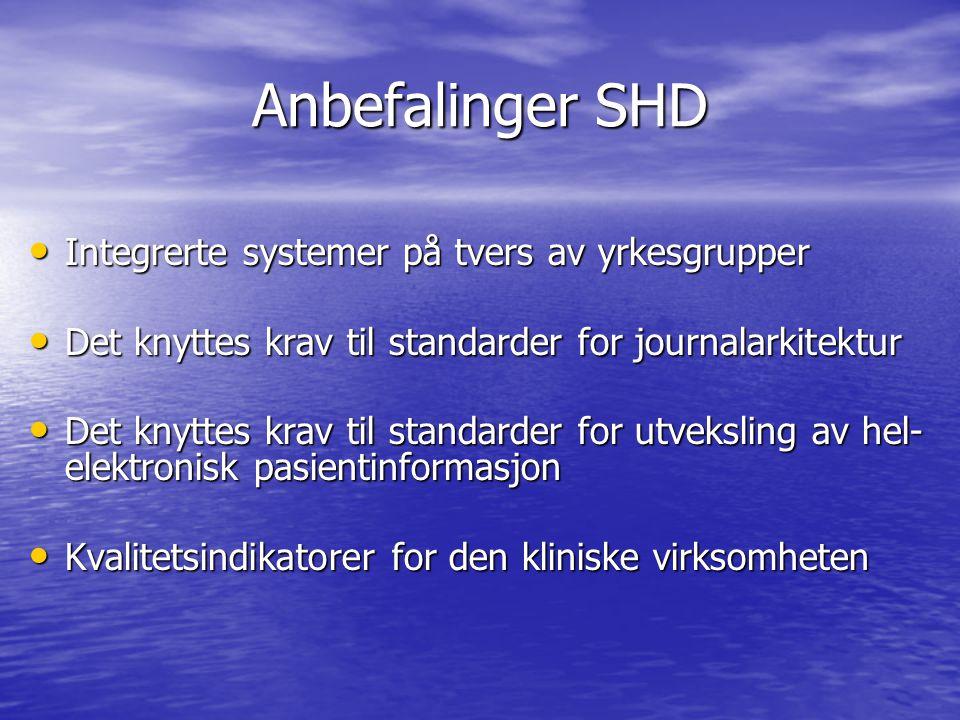Anbefalinger SHD Integrerte systemer på tvers av yrkesgrupper