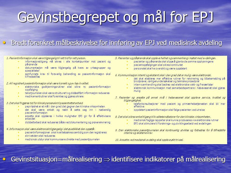 Gevinstbegrepet og mål for EPJ