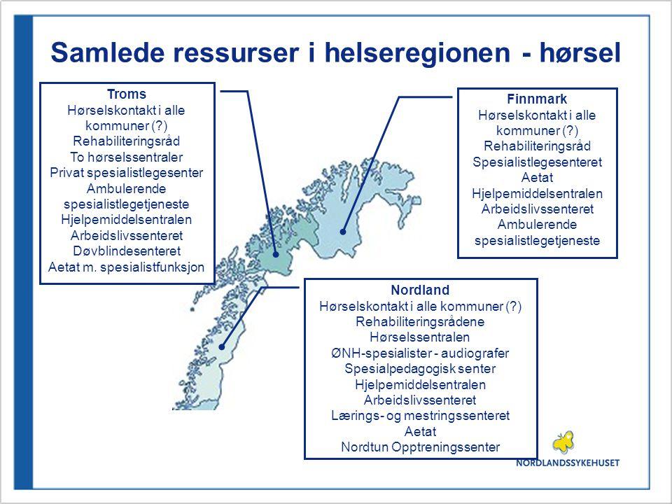 Samlede ressurser i helseregionen - hørsel