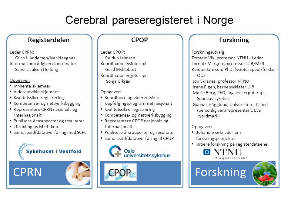 Forskning CPRN Cerebral pareseregisteret i Norge CPOP Registerdelen