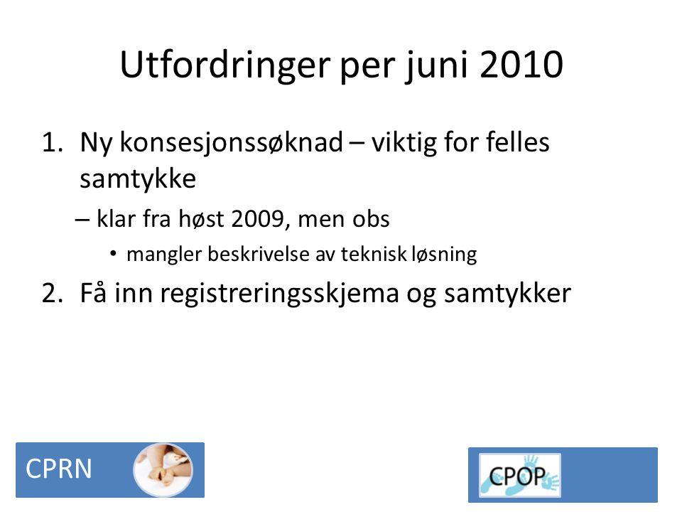Utfordringer per juni 2010 Ny konsesjonssøknad – viktig for felles samtykke. klar fra høst 2009, men obs.