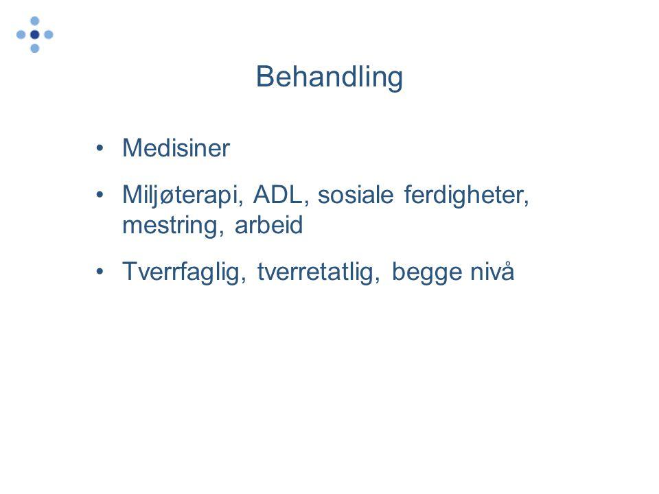 Behandling Medisiner. Miljøterapi, ADL, sosiale ferdigheter, mestring, arbeid.