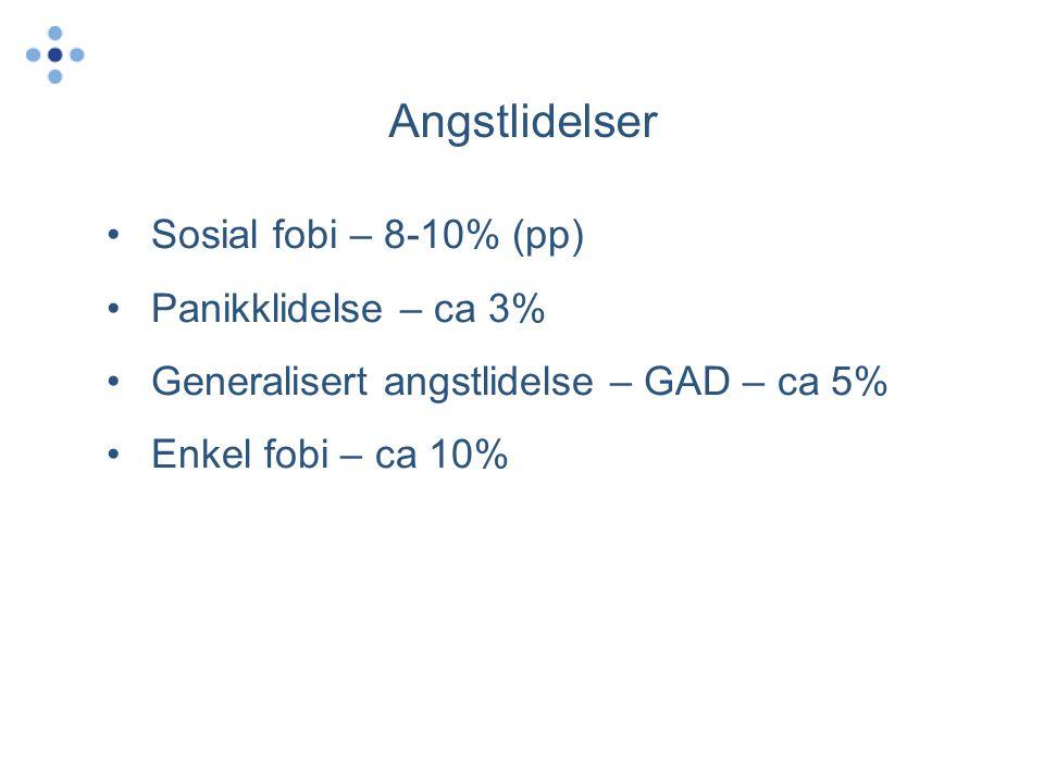 Angstlidelser Sosial fobi – 8-10% (pp) Panikklidelse – ca 3%