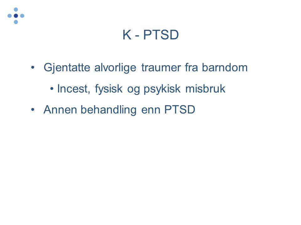 K - PTSD Gjentatte alvorlige traumer fra barndom