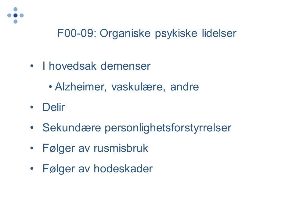 F00-09: Organiske psykiske lidelser