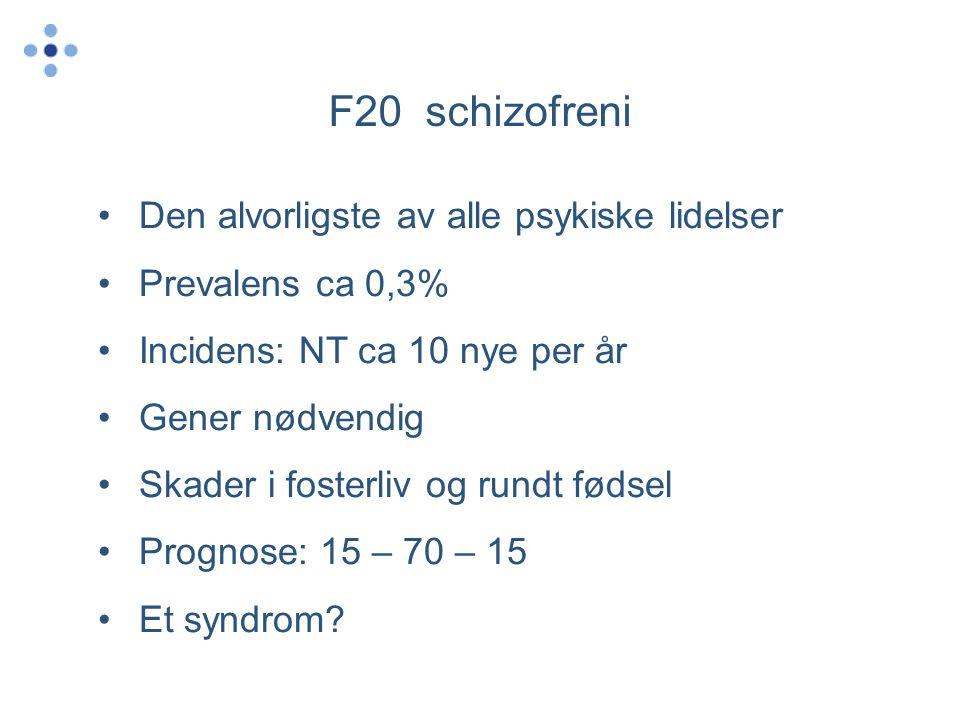 F20 schizofreni Den alvorligste av alle psykiske lidelser