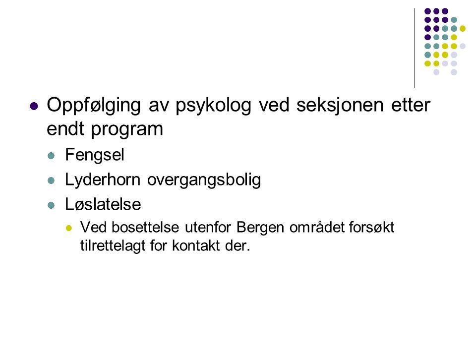 Oppfølging av psykolog ved seksjonen etter endt program