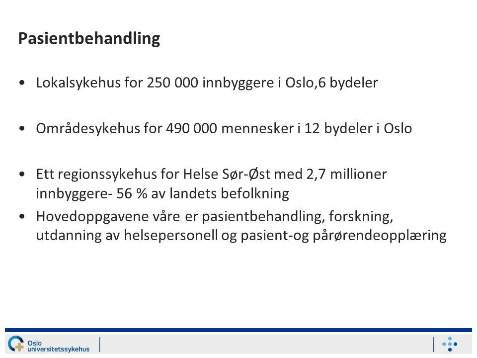 Pasientbehandling Lokalsykehus for 250 000 innbyggere i Oslo,6 bydeler