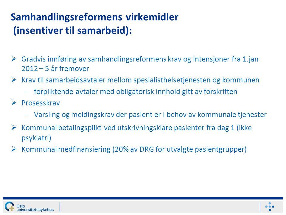 Samhandlingsreformens virkemidler (insentiver til samarbeid):