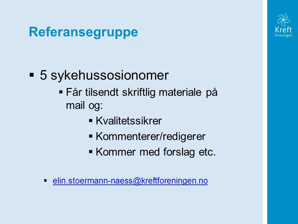 Referansegruppe 5 sykehussosionomer