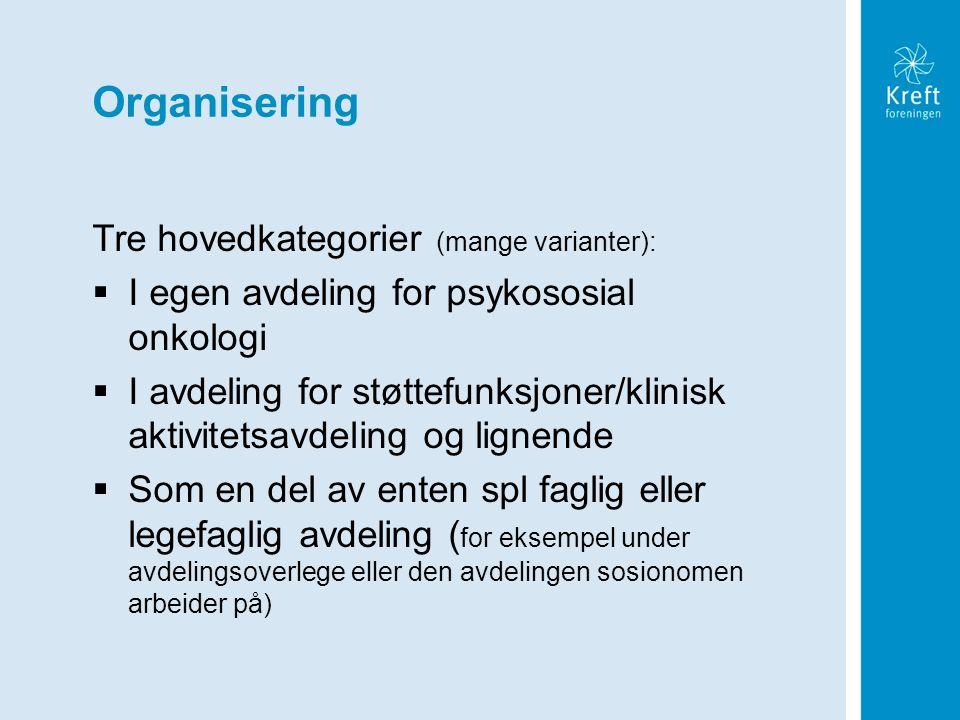 Organisering Tre hovedkategorier (mange varianter):