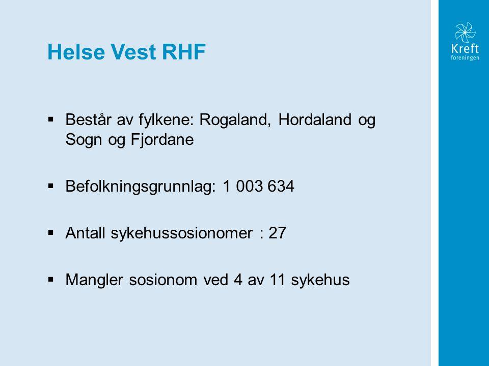 Helse Vest RHF Består av fylkene: Rogaland, Hordaland og Sogn og Fjordane. Befolkningsgrunnlag: 1 003 634.