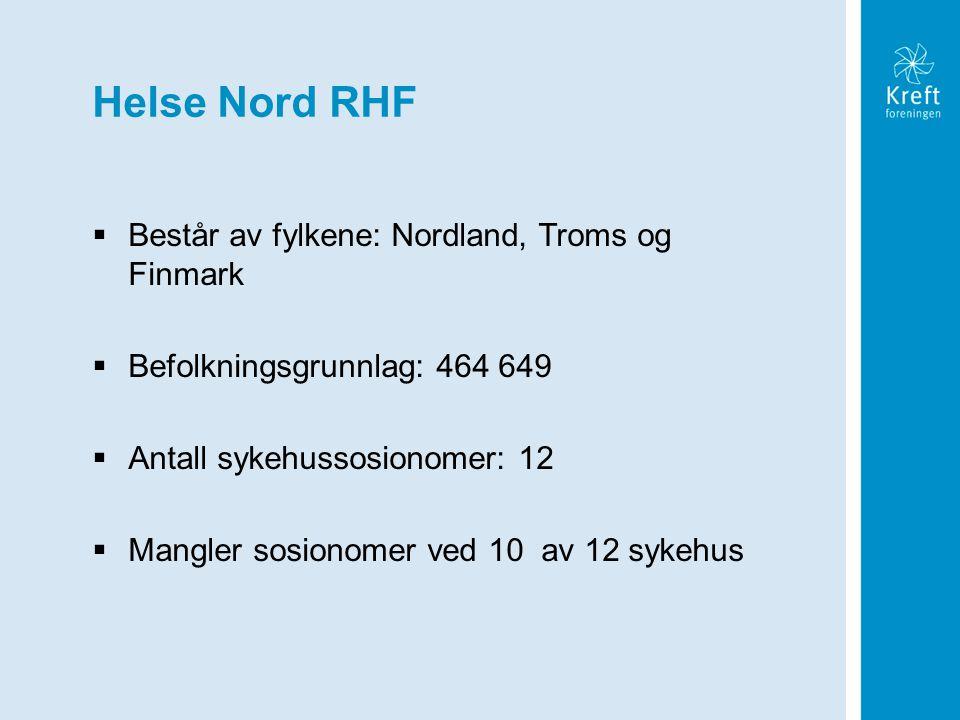 Helse Nord RHF Består av fylkene: Nordland, Troms og Finmark