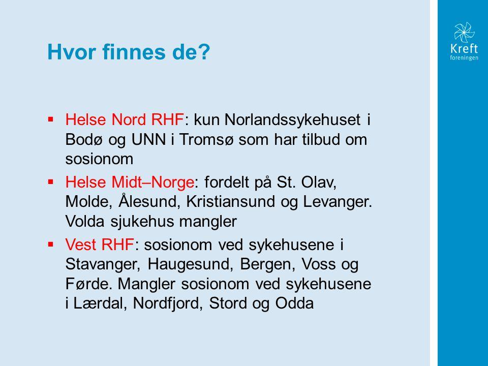 Hvor finnes de Helse Nord RHF: kun Norlandssykehuset i Bodø og UNN i Tromsø som har tilbud om sosionom.