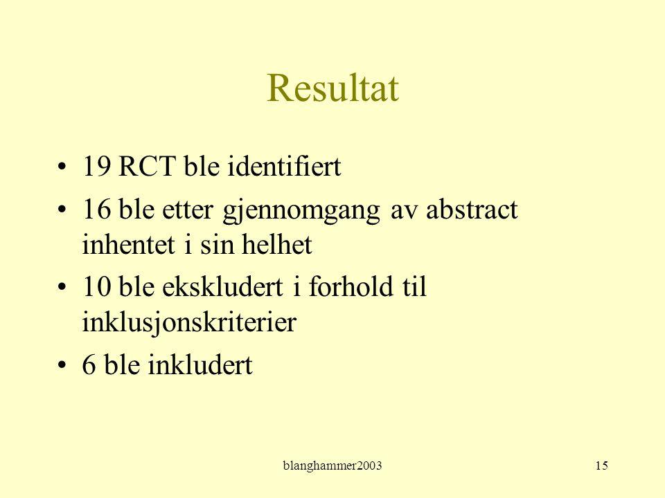 Resultat 19 RCT ble identifiert