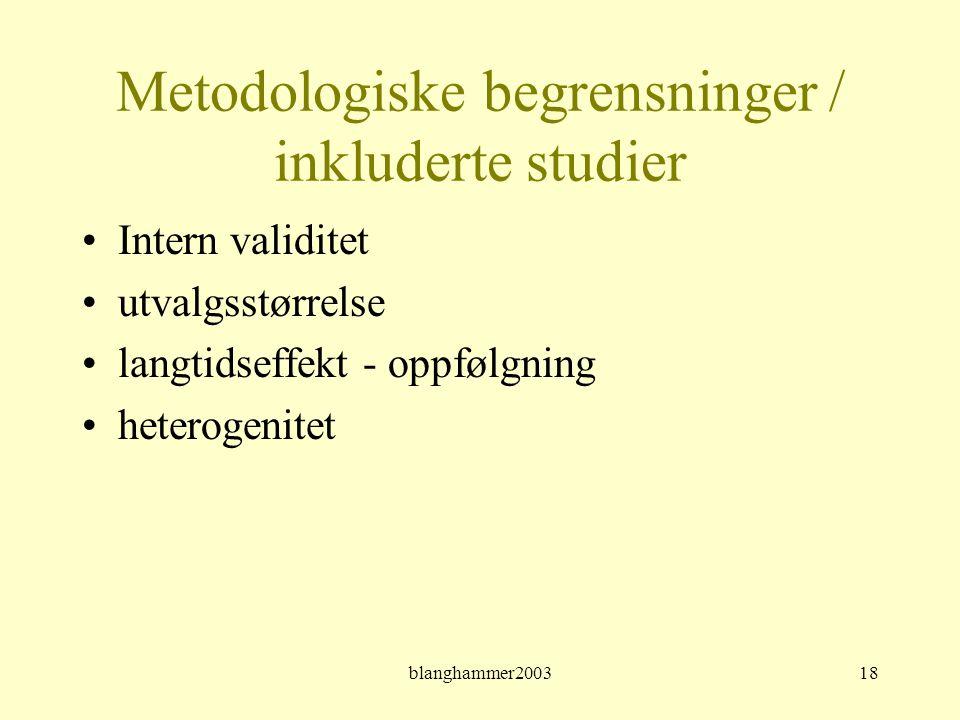 Metodologiske begrensninger / inkluderte studier