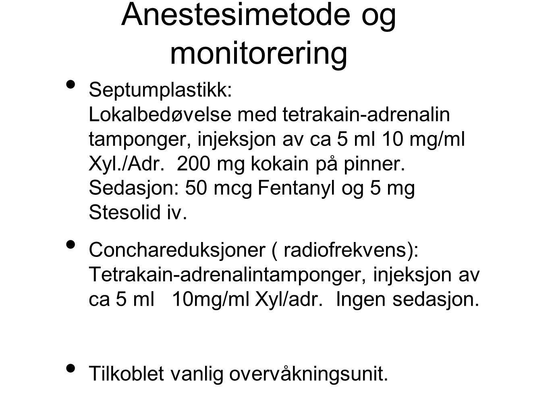 Anestesimetode og monitorering