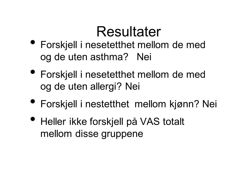 Resultater Forskjell i nesetetthet mellom de med og de uten asthma Nei. Forskjell i nesetetthet mellom de med og de uten allergi Nei.