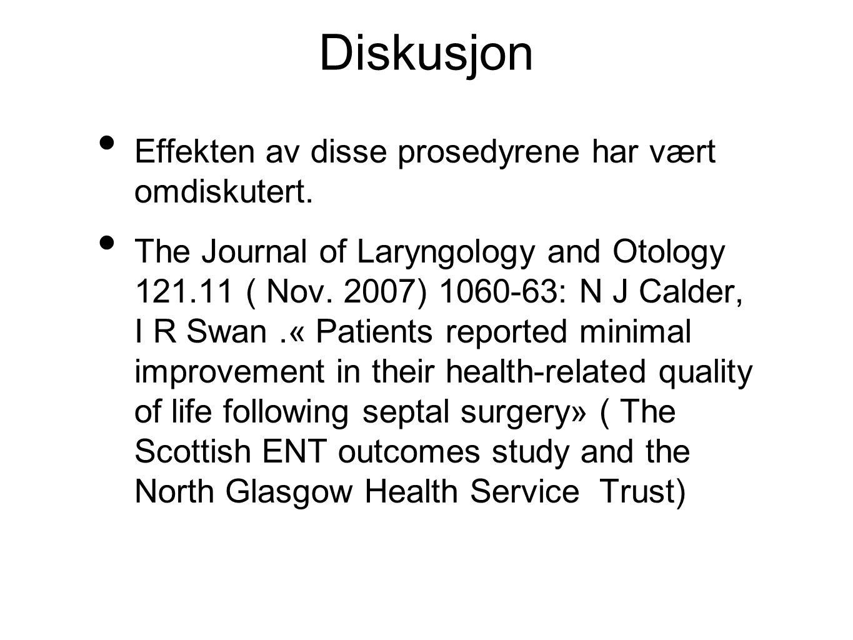 Diskusjon Effekten av disse prosedyrene har vært omdiskutert.