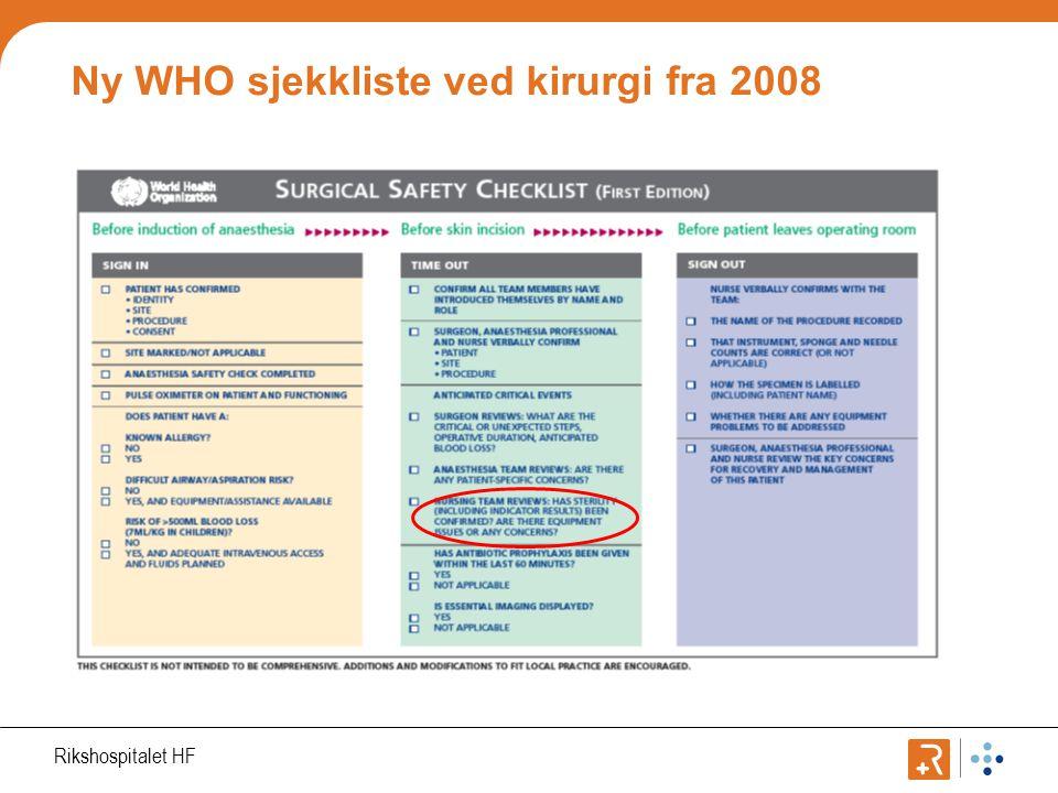 Ny WHO sjekkliste ved kirurgi fra 2008