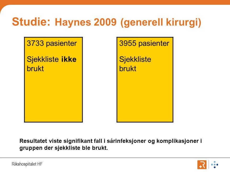 Studie: Haynes 2009 (generell kirurgi)