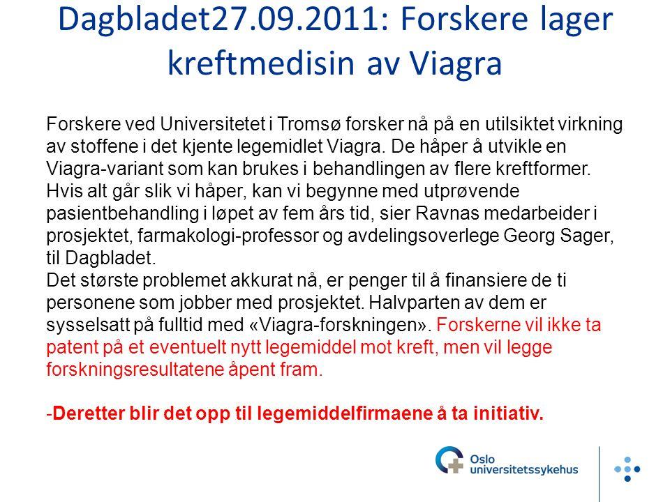 Dagbladet27.09.2011: Forskere lager kreftmedisin av Viagra