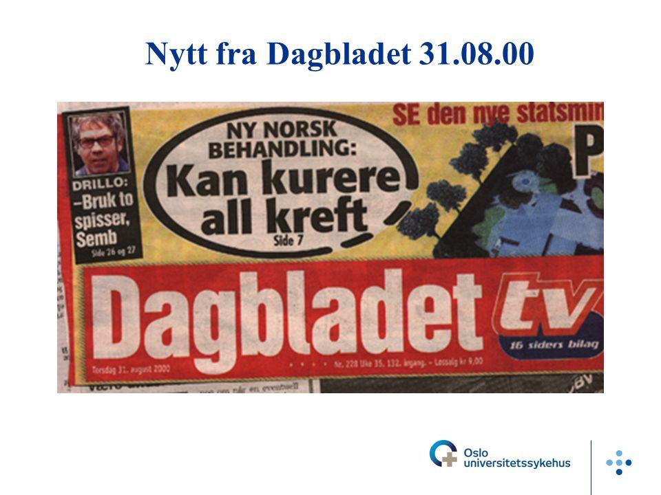 Nytt fra Dagbladet 31.08.00