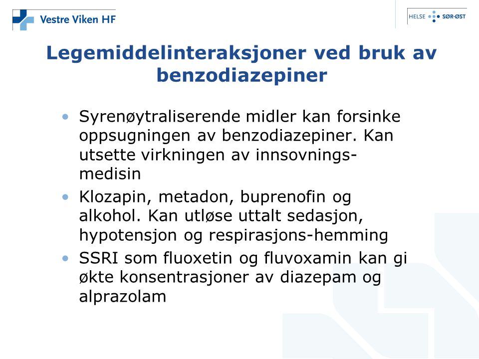 Legemiddelinteraksjoner ved bruk av benzodiazepiner