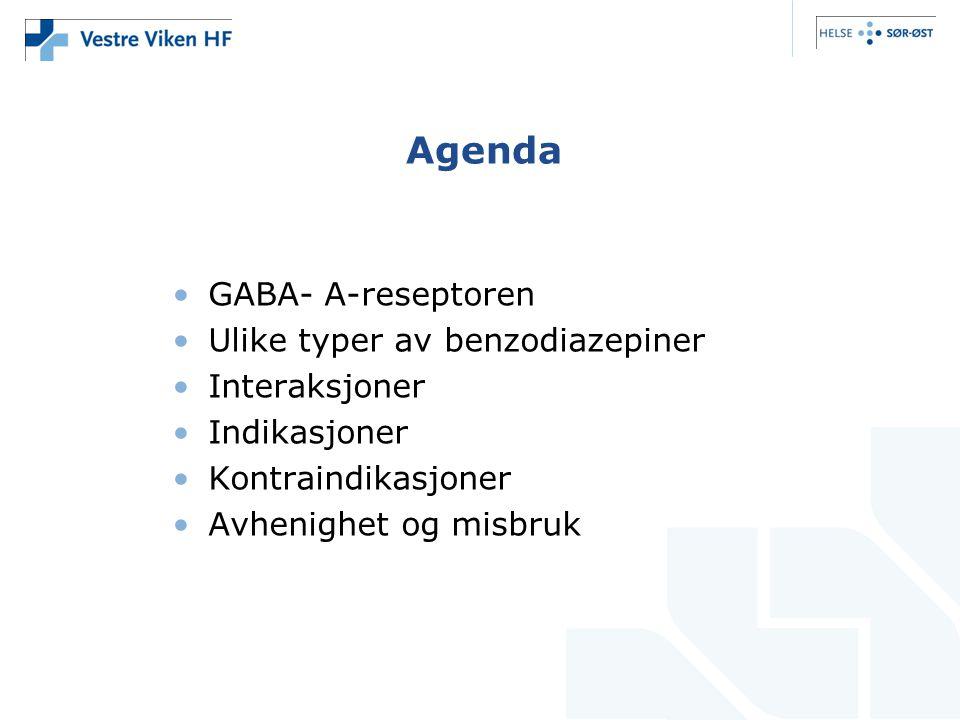 Agenda GABA- A-reseptoren Ulike typer av benzodiazepiner Interaksjoner